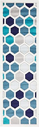 Modern Abstract Geometric 2 feet by 7 feet (2' x 7') Runner Metro Cream Contemporary Area Rug