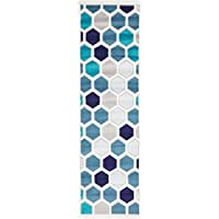 Modern Abstract Geometric 2 feet by 7 feet (2 x 7) Runner Metro Cream Contemporary Area Rug