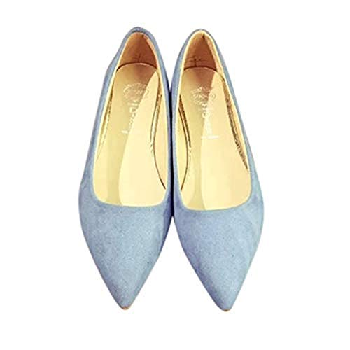 Xinantime Summer Sandals Pointed Suede Wild Single Shoes Flat Bottom Shallow Dress Mother's Daycasual Sandals Blue