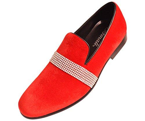 Amali Men's Velvet Smoking Slipper with Rhinestone Embellished Strap Dress Shoe, Style Monarch