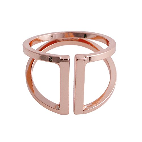 CHUANGYUN Double Layer Not Parallel Design Opens Pattern Ring (Rose Gold) (Tilt Womens Ring)