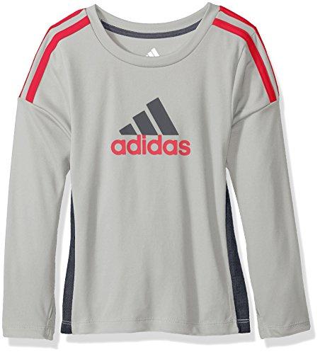 adidas Little Boys' Performance Logo Long Sleeve Tee Shirt, Onix, (5 Long Sleeve T-shirt)