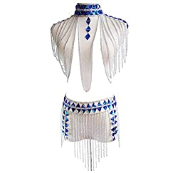 Body Suit With Blue Rhinestones and Silver Chain