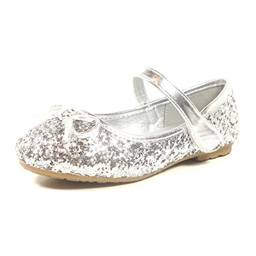 Silver Toddler Shoes (Nova Utopia Toddler Little Girls Ballet Flat Shoes,NF Utopia Girl NFGF312 Silver 11)