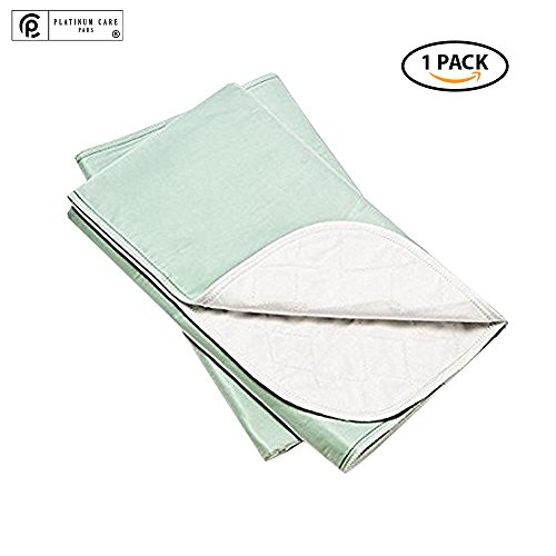 Platinum Care Pads™ Washable Green X-Large Standard Reusable Bed Pads/Hospital Underpads, For use with Incontinence and pets size 34×52 in, Pack of 1