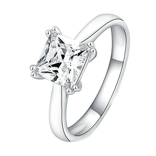 Daesar Gold Plated Womens Engagement Rings Silver Rhinestone Ring White CZ Ring for Women US:9