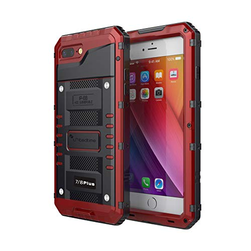 """Waterproof Heavy Duty Protective Case Designed for iPhone 7 Plus/iPhone 8 Plus, 5.5"""" Inch, Alum Frame Full Body Rugged Hard Silicone, Military Grade with Screen Protector Outdoor Defender (Red)"""