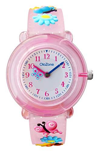 Kids Analog Watch Girls 3D Cartoon Waterproof Wrist Watch Birthday Gift for 5-7 Year