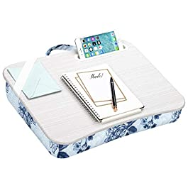LapGear Designer Lap Desk with Phone Holder and Device Ledge – Blue Blossoms – Fits up to 15.6 Inch Laptops – Style No…