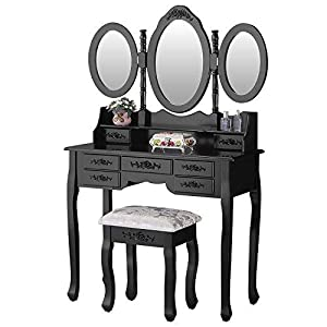 Mecor Vanity Makeup Table Set,Tri Folding Mirror Dressing Table with 7 Drawers/Stool