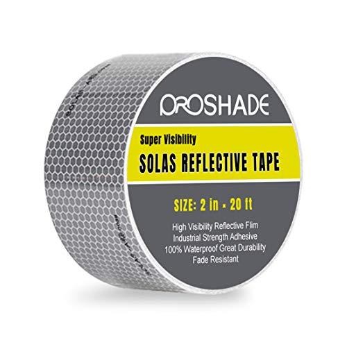 - Reflective Tape, PROSHADE Silver Marine Safety Warning Tape Waterproof, Solas Grade Pressure Sensitive Adhesive Film for Automobile, Fabric, Bike, Truck, RV. (2'' × 20')