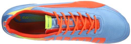 Puma evoSPEED 1.2 L FG - Zapatos de fútbol de cuero hombre Blau (sharks blue-fluro peach-fluro yellow 04)