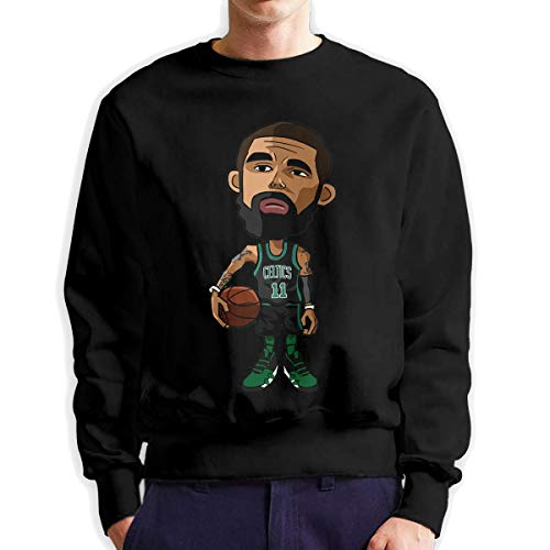 DLAZANA Boston Fans Design Celtics Kyrie Cartoon Irving 11 Basketball Men's Crew Neck Hoodie Sweater ()