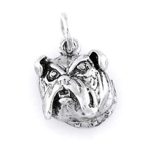 (Sterling Silver Bulldog Head Charm/Pendant Jewelry Making Supply Pendant Bracelet DIY Crafting by Wholesale)