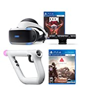 PlayStation 4 DOOM VFR and Farpoint PSVR Aim Controller Enhanced Bundle: PlayStation 4 VR Headset, PSVR Camera, Wireless Aim Controller, DOOM VFR and Farpoint