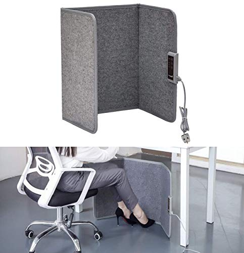 Heated Foot Warmer Mat with Temperature Control for Under Desk and More- Home & Office, 45° Tilt Auto Shut Off Ultra Heat Therapy Wrap(Grey) ()
