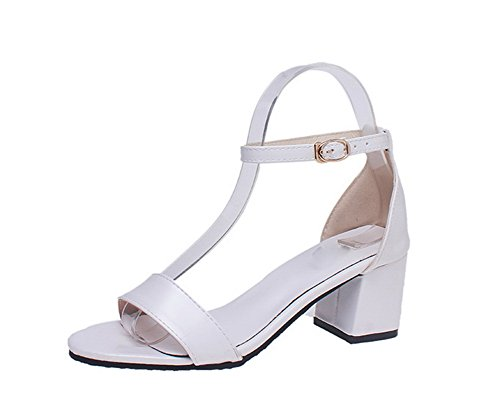 WeenFashion Women's Pu CA18LB04813 White Sandals Open Kitten Heels Toe Solid Buckle rZxTrdOn