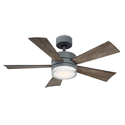 Modern Forms FR-W1801-42L-GH/WG Wynd 42 Inch Five Blade Indoor/Outdoor Smart Fan with Six Speed DC Motor and LED Light in Graphite Finish Works with Nest, Ecobee, Google Home and IOS/Android - Graphite Finish