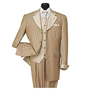 Milano Moda Pinestripe Fashion Suit with Contrast Collar, Cuffs & Vest 2911-Tan-42R