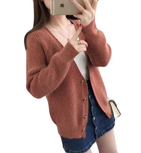 (ニカ) レディース ニット カーディガン 長袖 ゆったり 無地 アウター ジャケット 秋 冬 ニットセーター Vネック コーディガン レディース 韓国ファッション 5色
