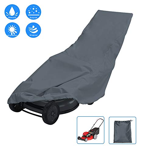 AKEfit Outdoor Lawn Mower Waterproof Push Lawn Mower Cover Universal Fit  Walk Behind Mower,Gas Powered/Electric Lawn Mower with Drawstring Grey