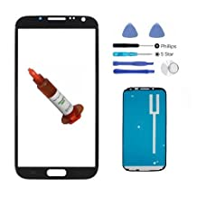 (md0410) BLACK Front Outer Glass Lens Screen Replacement for Galaxy Note II 2 + Adhesive + Tools + 5ml UV LOCA GLue (LCD & Digitizer not included) N7100 I317 L900 T889 I605 N7199