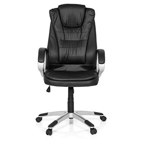 MyBuero Fauteuil de direction, fauteuil de bureau RELAX WB100 simili cuir noir avec accoudoirs, capitonnage souple, dossier haut avec appuie-tête