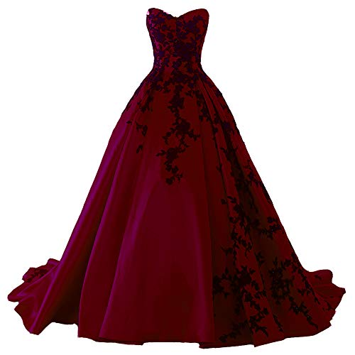 Beaded Gothic Black Lace Long Ball Gown Satin Prom Evening Dress Burgundy US 8