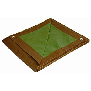10x12 Multi-Purpose Brown/Green Medium Duty DRY TOP Poly Tarp (10'x12')