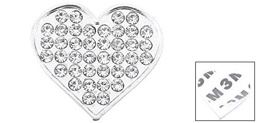 uxcell a13103000ux0225 Bling Rhinestones Silver Tone Heart Shape Design 3D Emblem Car Sticker Unknown