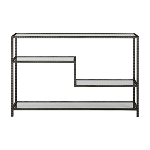 MY SWANKY HOME Industrial Minimalist Console Table Staggered Shelves | Multi Level Iron Glass