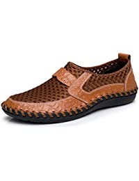 Men's Mesh Breathable Walking Loafers Outdoor Lightweight Slip-On Mesh Casual Shoes Stitching Honeycomb Hiking Shoes Durable Soft Leather