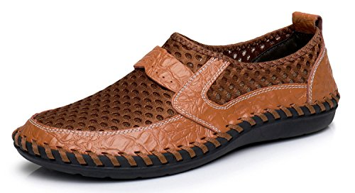 Summer Men's Mesh Breathable Walking Loafers,Outdoor Lightweight Slip-on, Mesh Casual Shoes,Stitching Honeycomb Hiking Shoes Durable Soft Leather-brown 45 ()