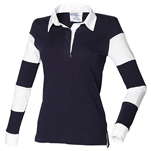 Front Row Polo de rugby à manches longues rayées pour femme fr103Bleu marine/blanc xl
