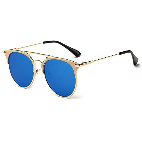 AMAZZANG-Women's Fashion Retro Mirrored Metal Frame Sunglasses Eyewear Ey Glasses (BLUE - Steve Mcqueen Eyes Blue