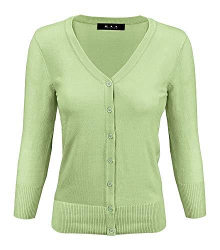 - YEMAK Women's 3/4 Sleeve V-Neck Button Down Knit Cardigan Sweater CO078-Jade-S