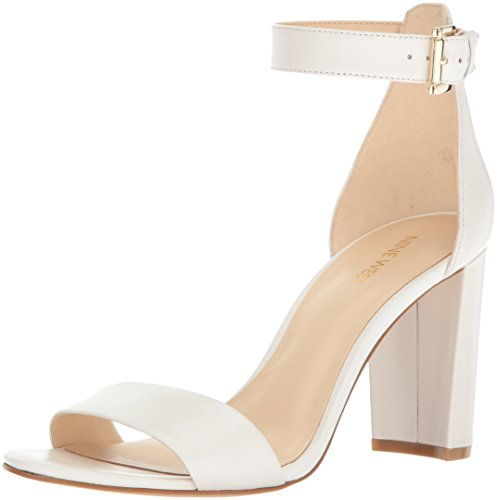 Nine West Women's Nora Leather Dress Sandal, White, 9 M US 25021320