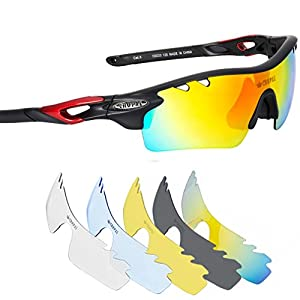 CROPAL Sports Sunglasses, Polarized Baseball Sunglasses for Cycling, Running, Driving-Black/Red