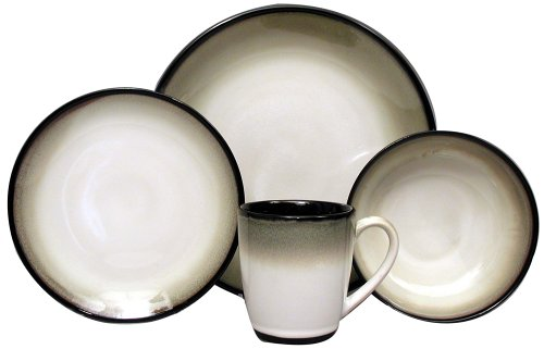 Sango Nova Black 16-Piece Dinnerware Set, Service for 4