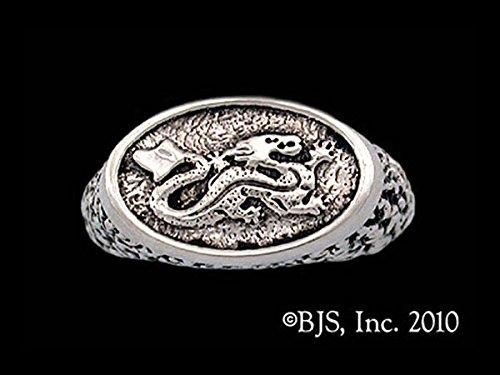 Robert Jordan Asha'man Dragon Signet Ring Licensed Wheel of Time Jewelry in Sterling Silver by Badali