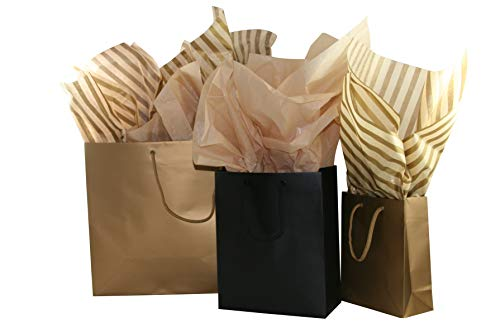 Eurotote Gift Bag Assortment with Coordinating Tissue Paper - 13 Pieces (Gold and Black)