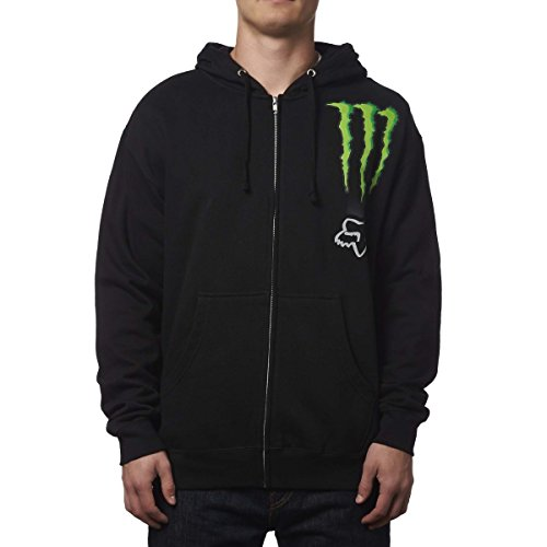 Fox Racing Mens Monster Zebra Hoody Zip Sweatshirt Medium Black (Fox Monster Hoodie Racing)
