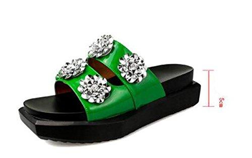 PBXP Pantofole Donna Piattaforma OL Elegante Strass Decorazioni Fiore Antiscivolo Scarpe Casual Confortevoli UE Taglia 35-40 , green , 36