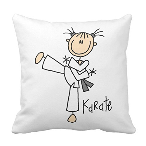 Zazzle Stick Figure Girl Karate T-shirts and Gifts Throw Pillow 16