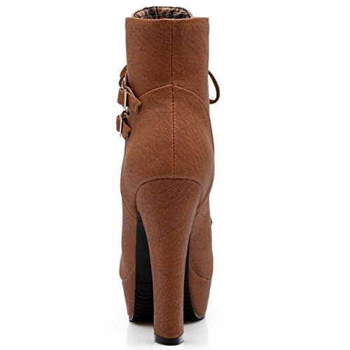 Brown para RAZAMAZA Mujer Alto de Moda Tacon Botas Botines Plataforma con A8qvRwF