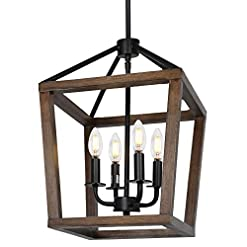Farmhouse Ceiling Light Fixtures 4-Light Rustic Chandelier, Adjustable Height Lantern Pendant Light with Oak Wood and Iron Finish, Farmhouse Lighting… farmhouse ceiling light fixtures