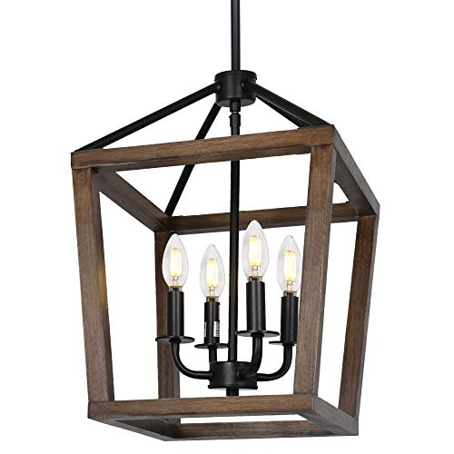 4-Light Rustic Chandelier, Adjustable Height Lantern Pendant Light with Oak Wood and Iron Finish, Farmhouse Lighting…