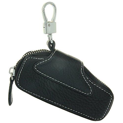 Household Key case Genuine Leather Car Smart Key Chain Keychain Holder Metal Hook and Keyring Zipper Bag Remote Key Car Key Fob Keyless Entry Zipped Around Key Wallet Sell Men (Zipped Entry)