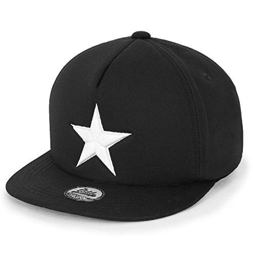 ililily Star Embroidery Black White Trucker Hat Cotton Baseball Cap Black Flat