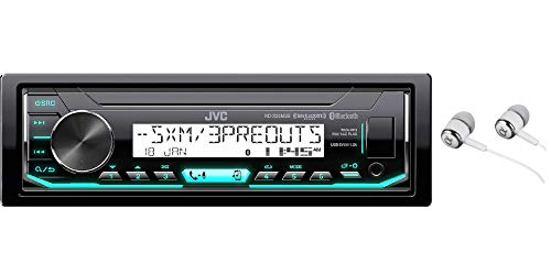 JVC KD-X35MBS Single DIN SiriusXM Bluetooth MP3 USB Pandora , iHeartRadio , Spotify , Android/iPod/iPhone Music Playback , in-Dash Digital Media Marine Stereo Receiver with Alphasonik Earbuds (Car Face Detachable Stereo Jvc)